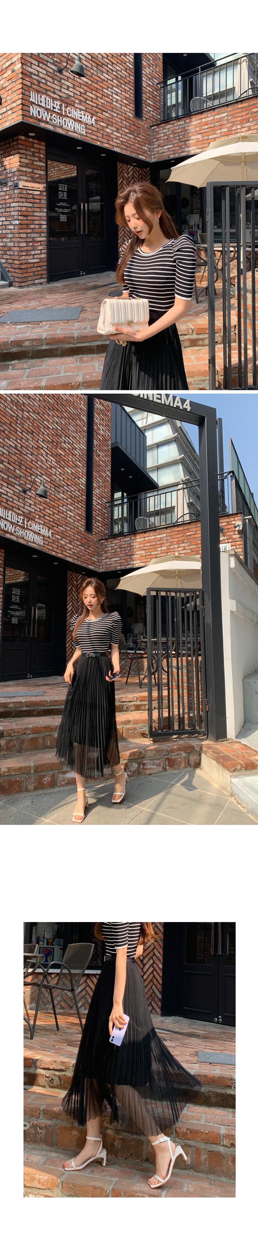 Mood Goddess Short Sleeve Knitwear + Pleated Skirt Set