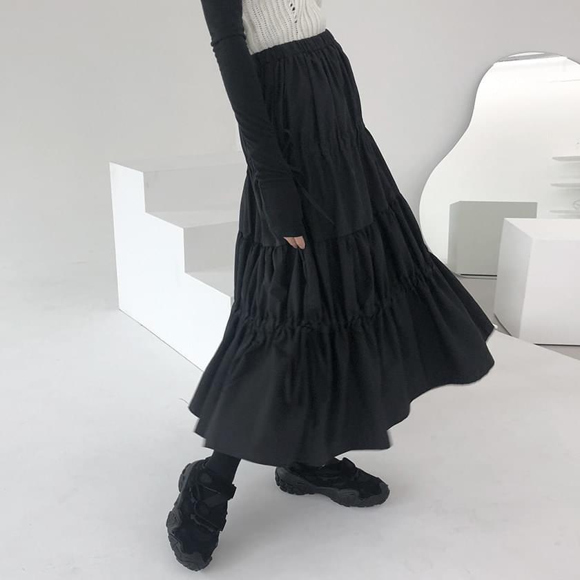 Cancan shirred band skirt