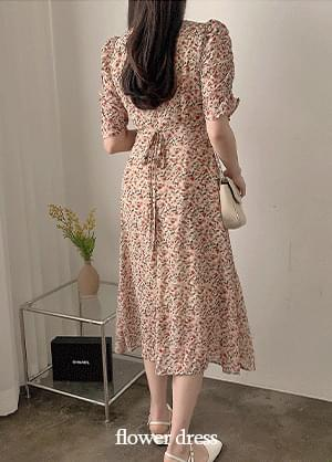Sullive Back Ribbon Flower Shirring Long Dress