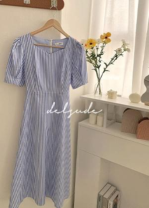 Delshud back ribbon stripe long Dress