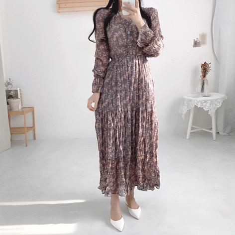 Nadia Flower Long Pleated Chiffon Dress