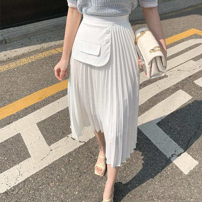 Shalala Wing Pleated Long Skirt