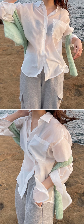 Loa satin sheer blouse