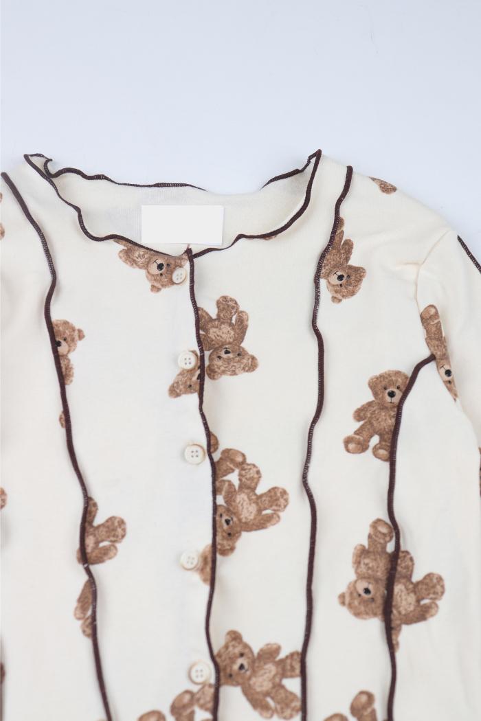 Teddy bear ruffle stitch cropped cardigan
