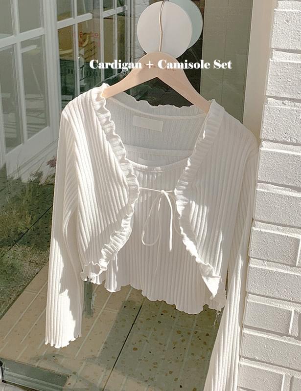 Ribbed rib di ruffle cardigan + Sleeveless set