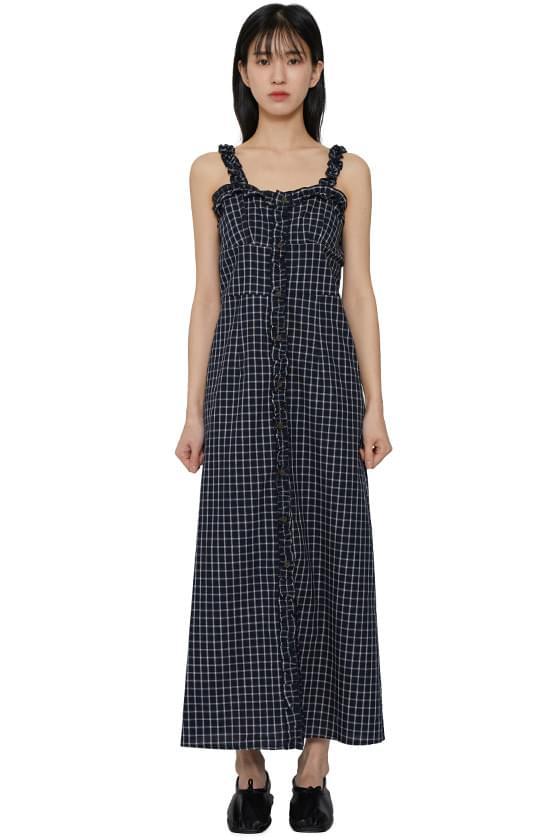 Pia frill check long dress