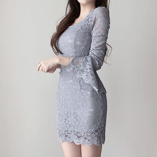 Thin square neck trumpet sleeve slim fit lace Dress 3color