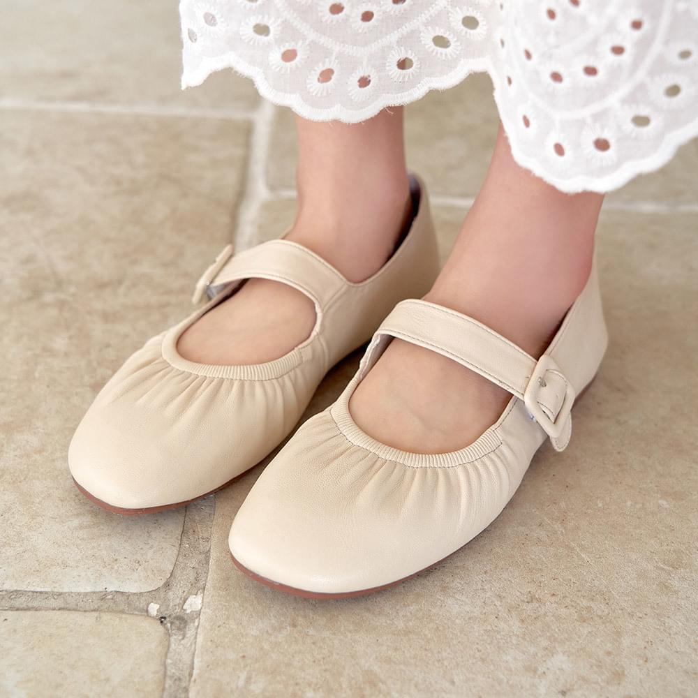 Shirring Mary Jane Flat Shoes