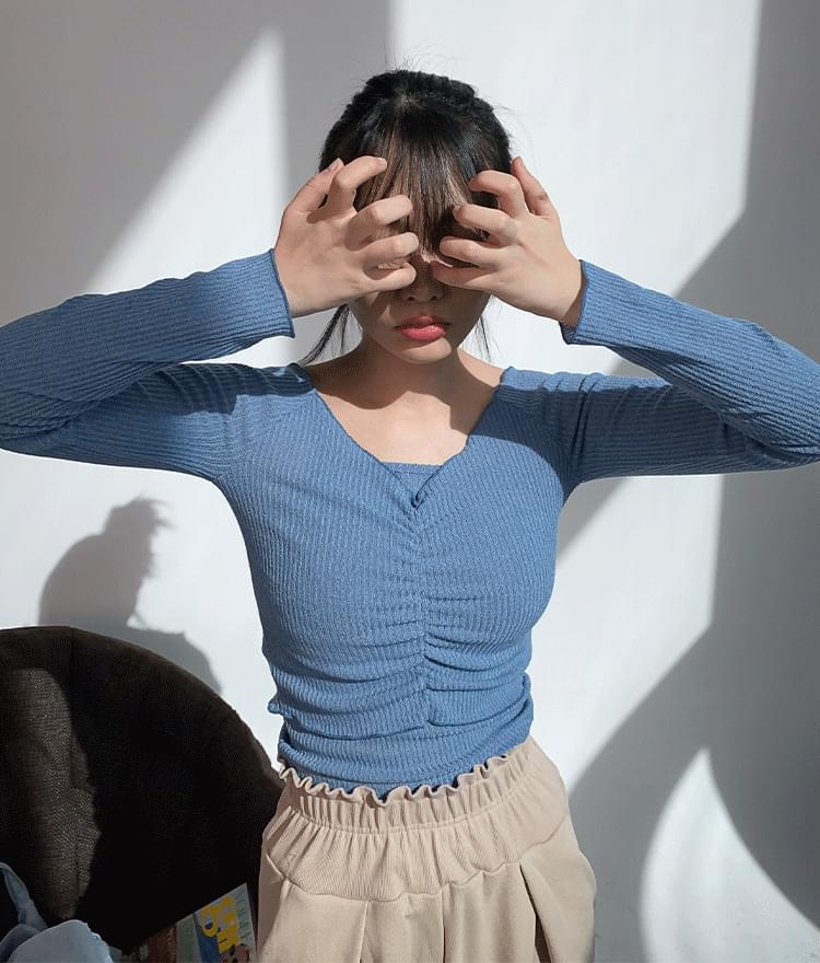 Off Shirred Sleeveless T-Shirt Set