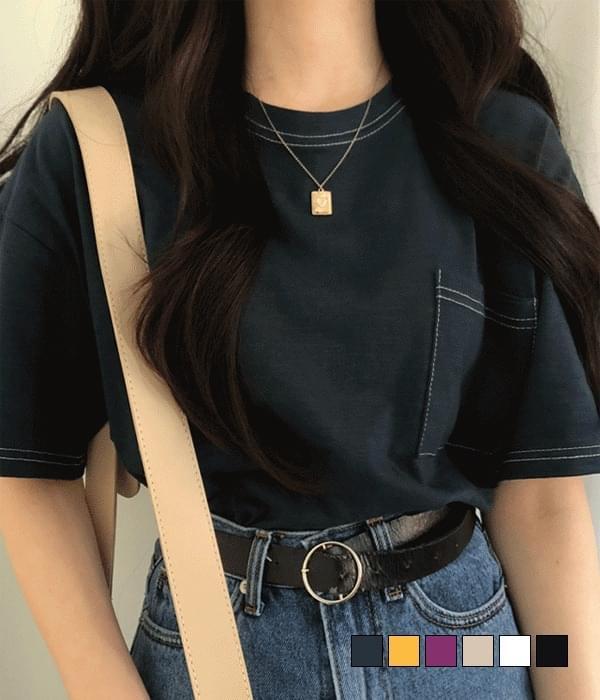 Slab stitch pocket short-sleeved T-shirt