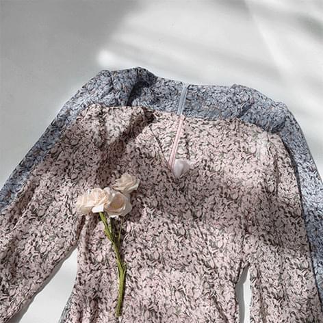 Sealy Flower See-Through Shirring Dress