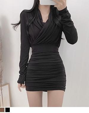 Punk Fleece-lined Shirring Wrap Dress