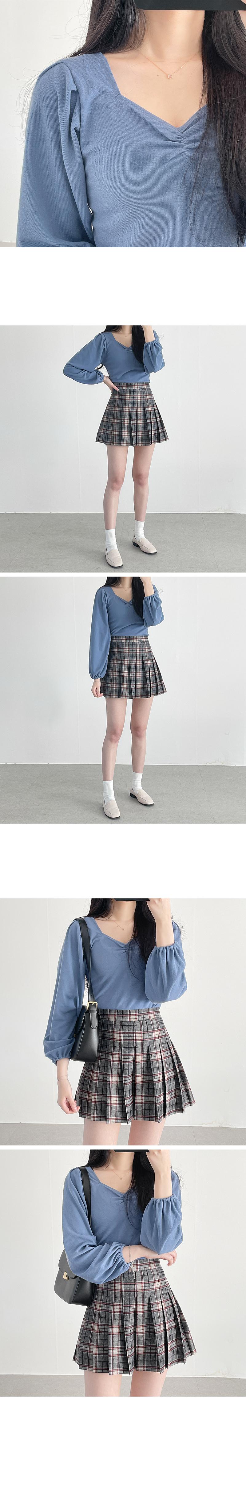 Yeori Shirring Square Long Sleeve T