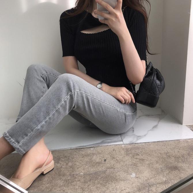 Slim Knot Fashion Short Sleeve Knitwear