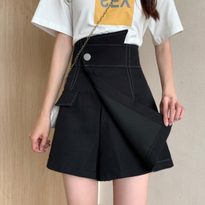 Stitched unfooted skirt pants