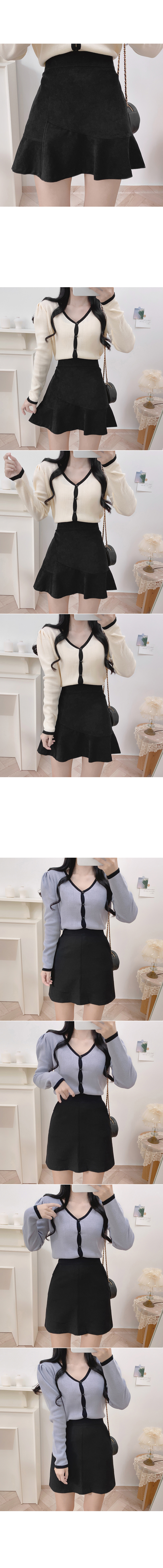 Suzying Bean Button Color Cardigan