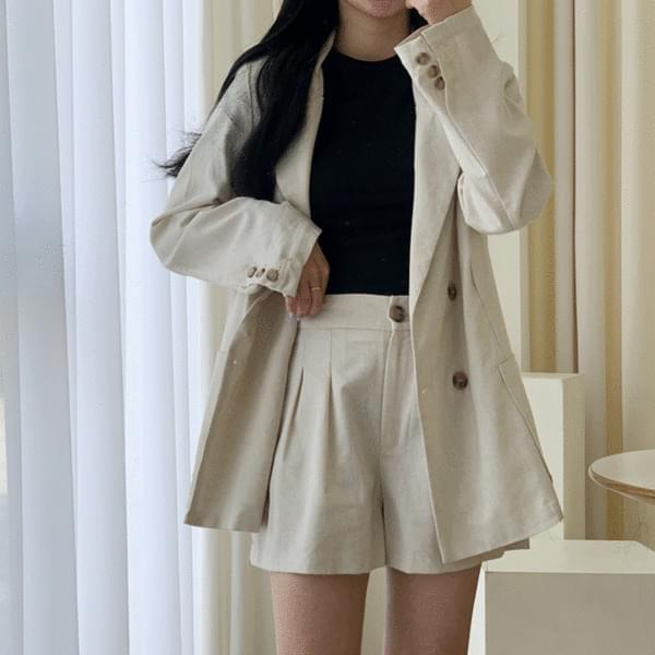韓國空運 - Linen Jacket + Pants Set 套裝