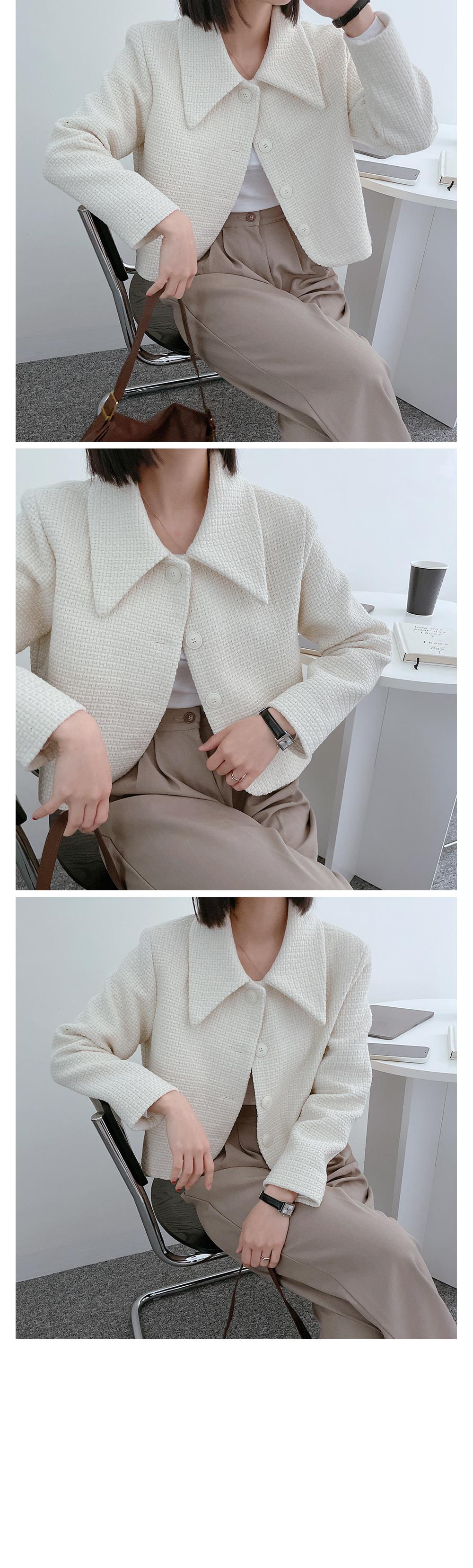 Log tweed collar short jacket