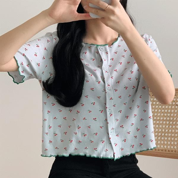 韓國空運 - Cherry color frill cardigan 針織外套