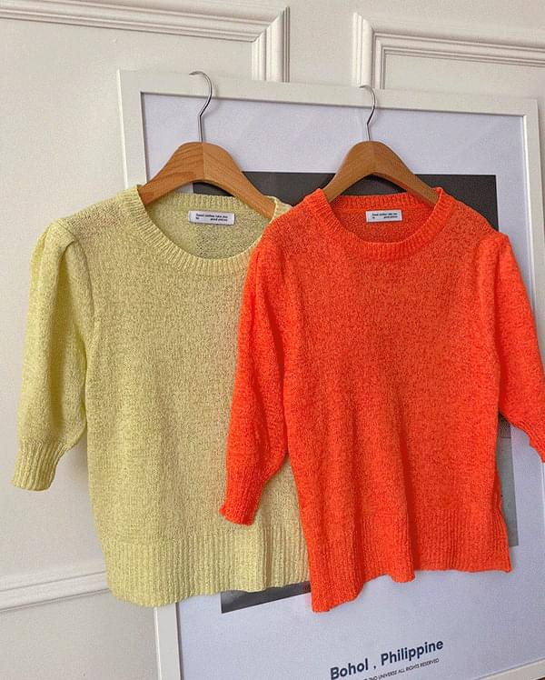 #Any place Ravi Short Sleeve Puff Knitwear