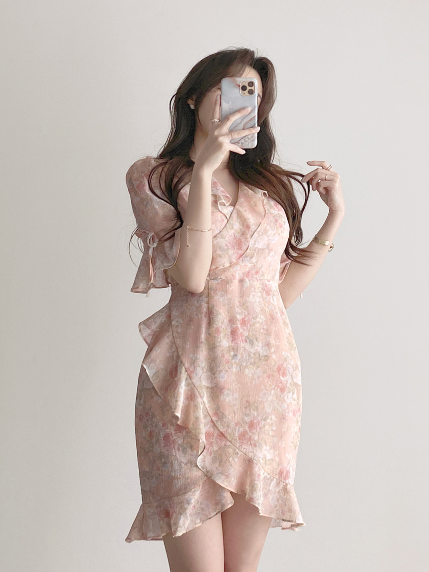 Thin floral ruffle wrap short sleeve flower Dress