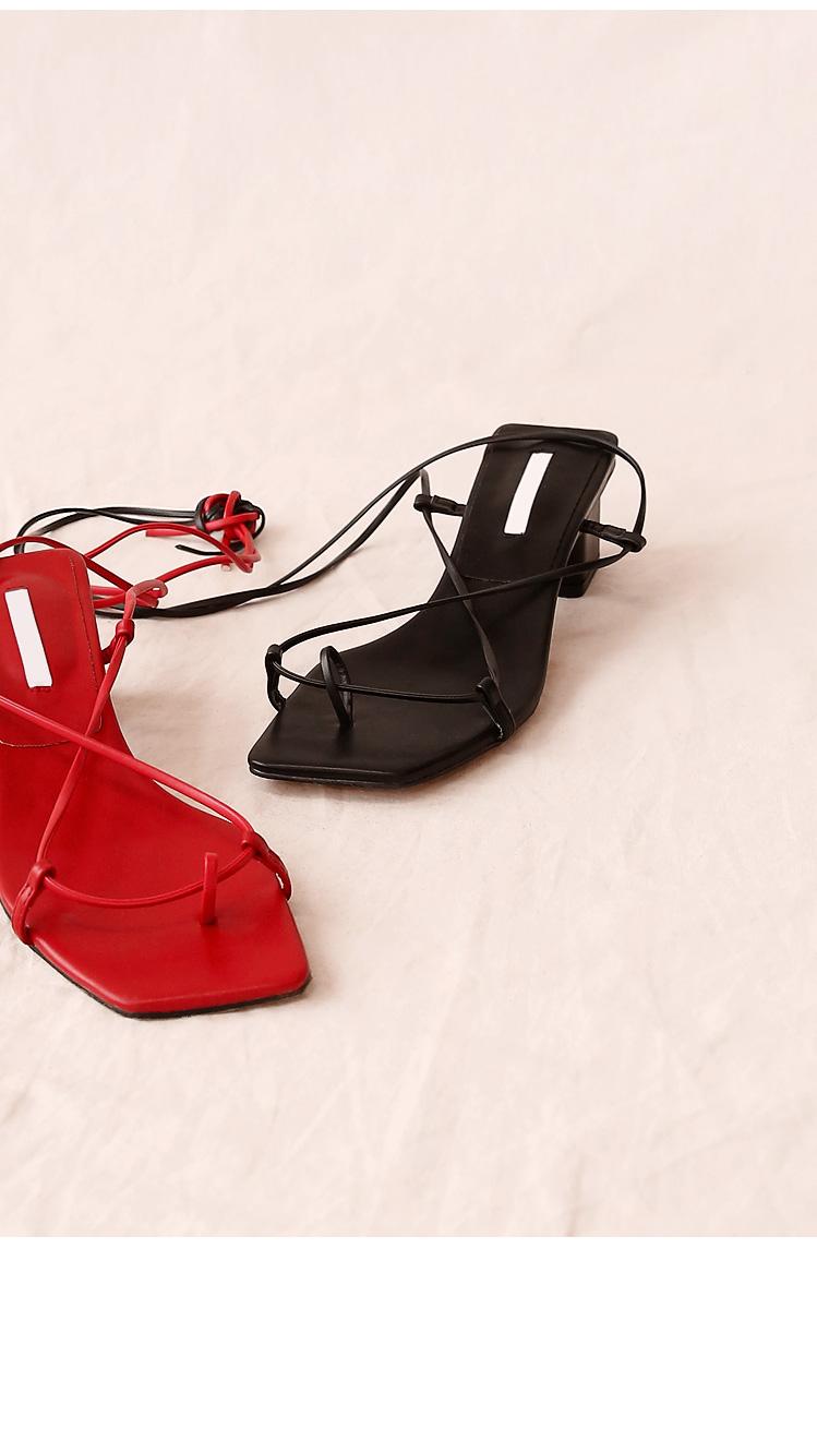 Slim Strap Block Heel Sandals