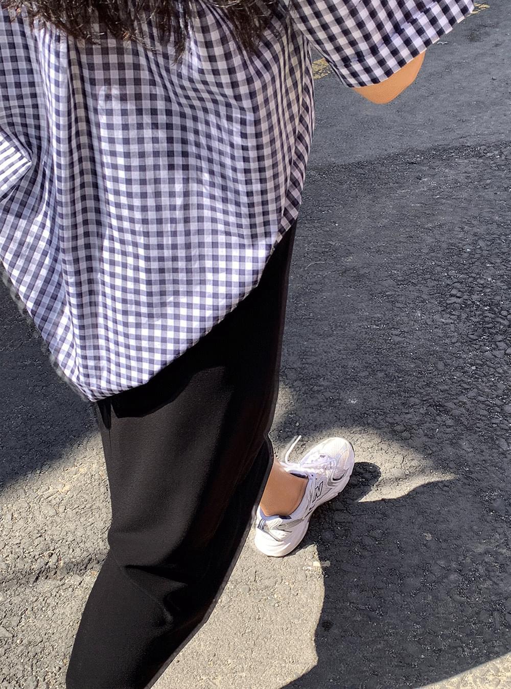 Margaret gingham check short-sleeved shirt
