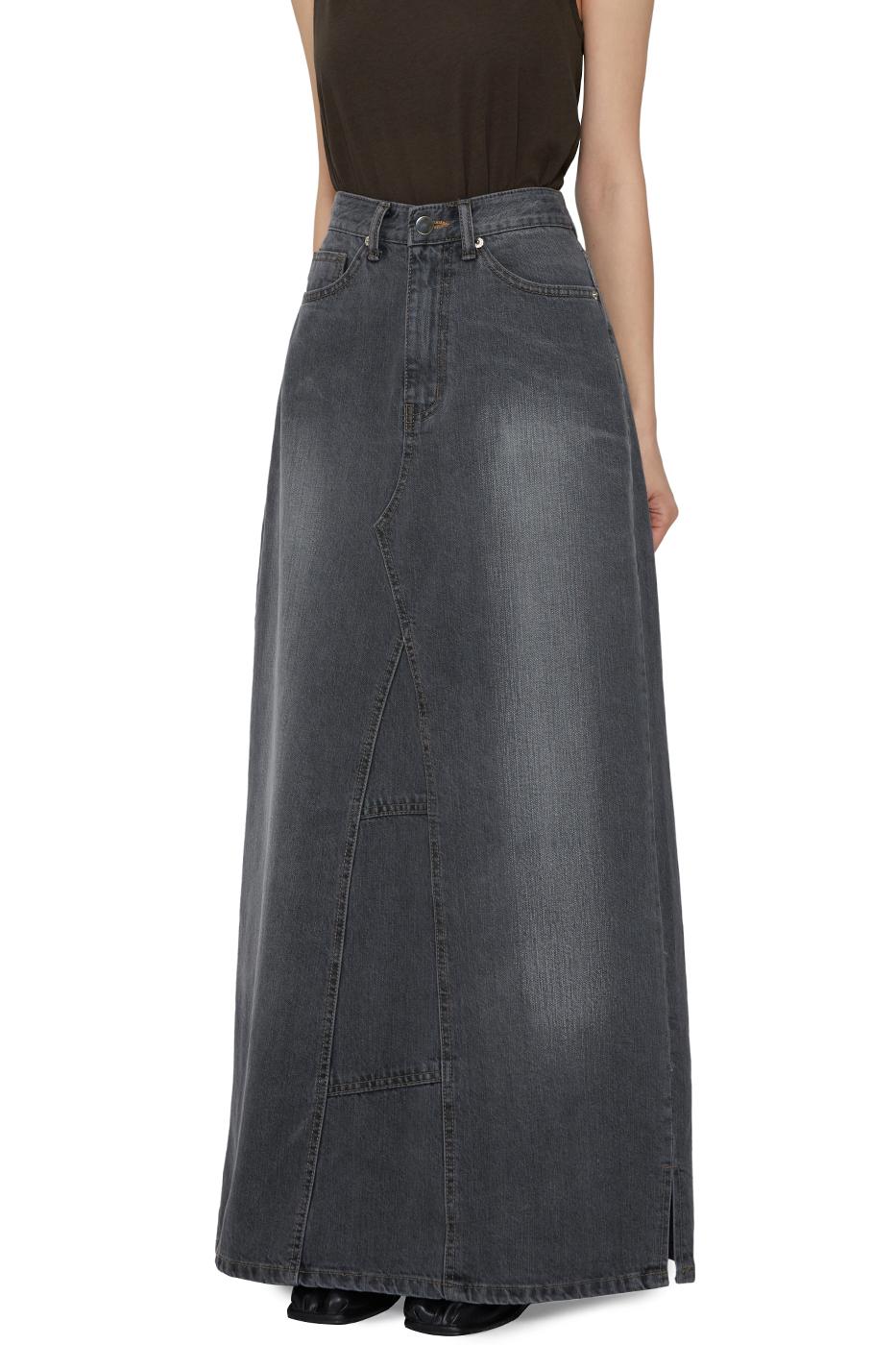 Cheat denim maxi long skirt