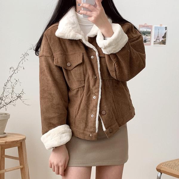 Cozy fleece golden jacket