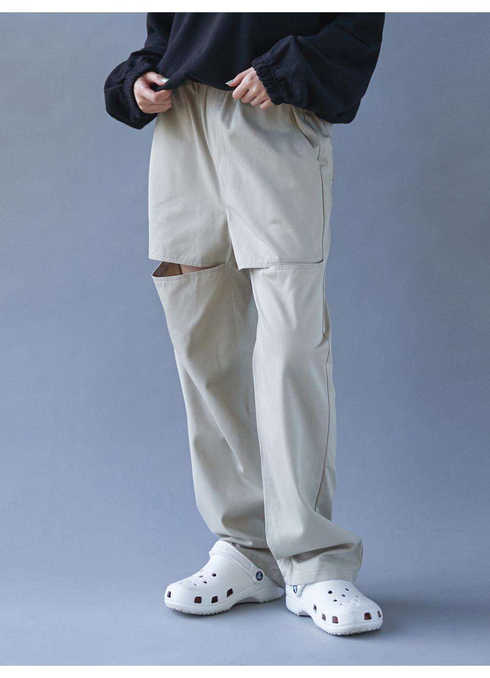 Banding cut wide pants