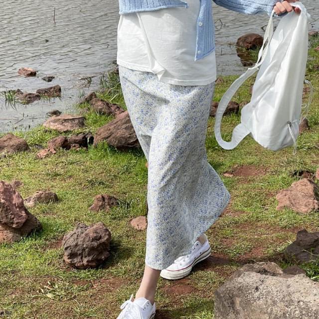 Wind Flower Banding Long Skirt
