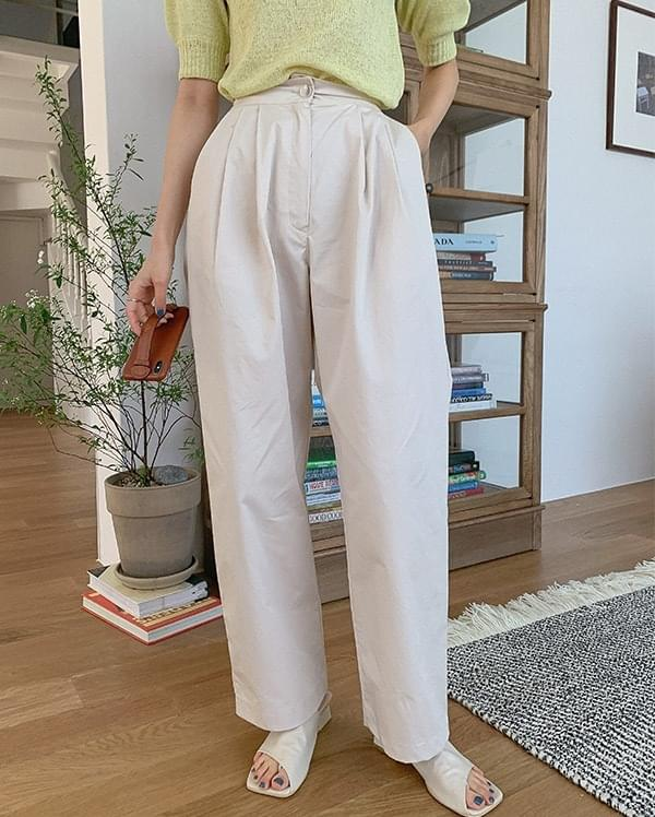 Anjou wide-cotton pintuck trousers