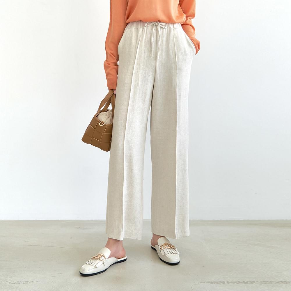 Linen wide pintuck banding trousers