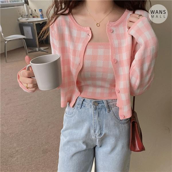 cd4213 Sherbet Pastel Check Cardigan Set