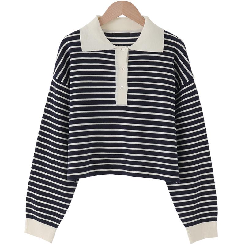 Kitty Stripe Crop Knitwear Tee