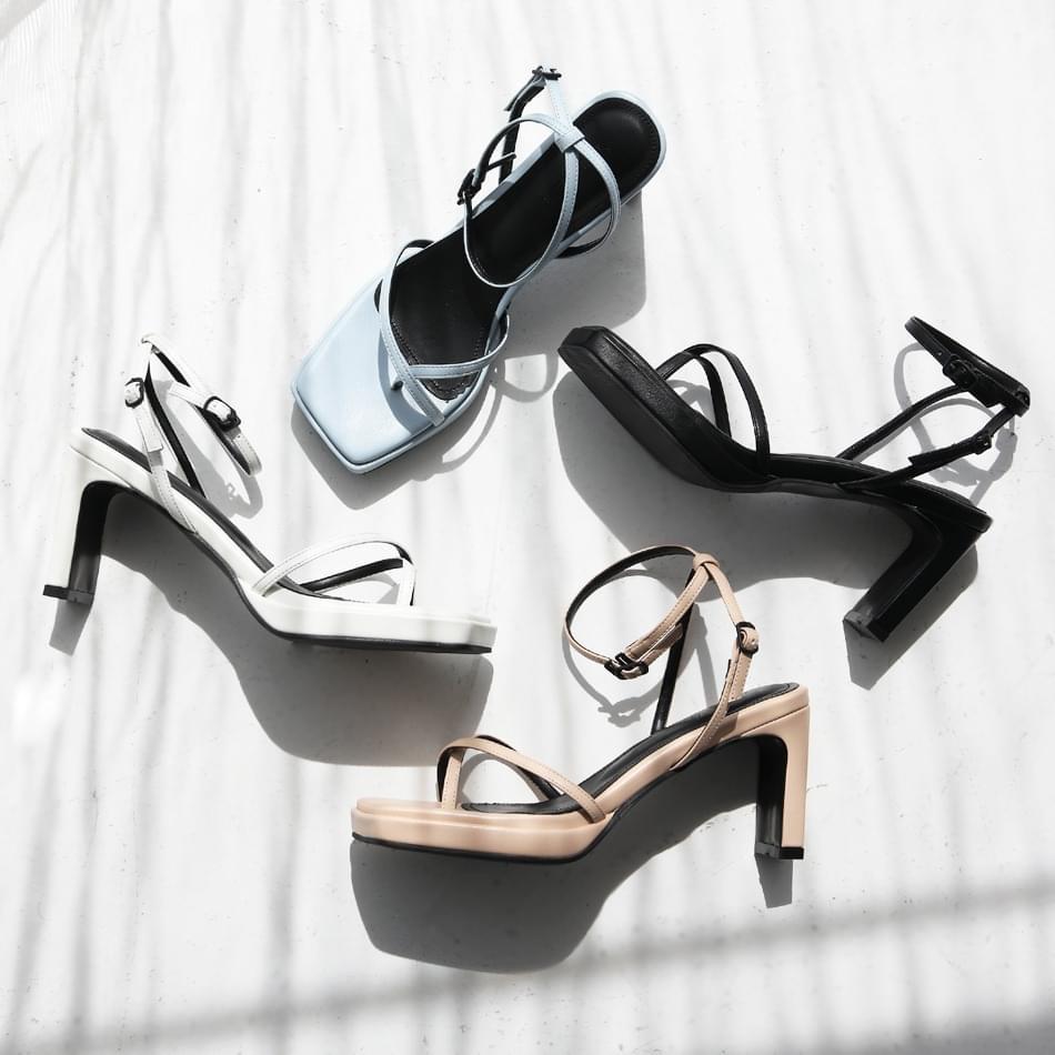 Yojo Ladies Pleated Strap Sandals 8cm