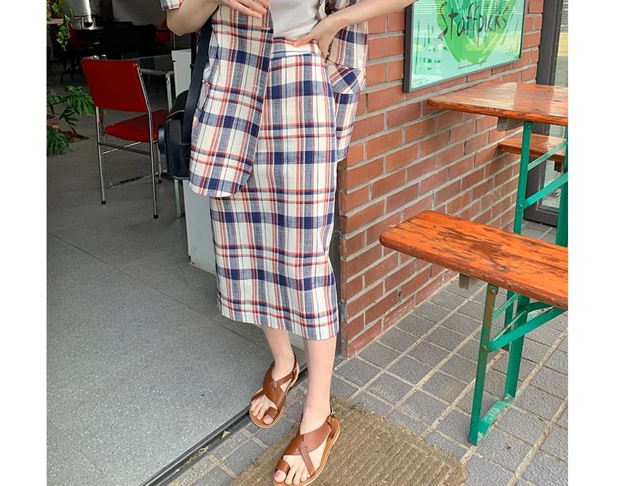 Alish check H line long skirt