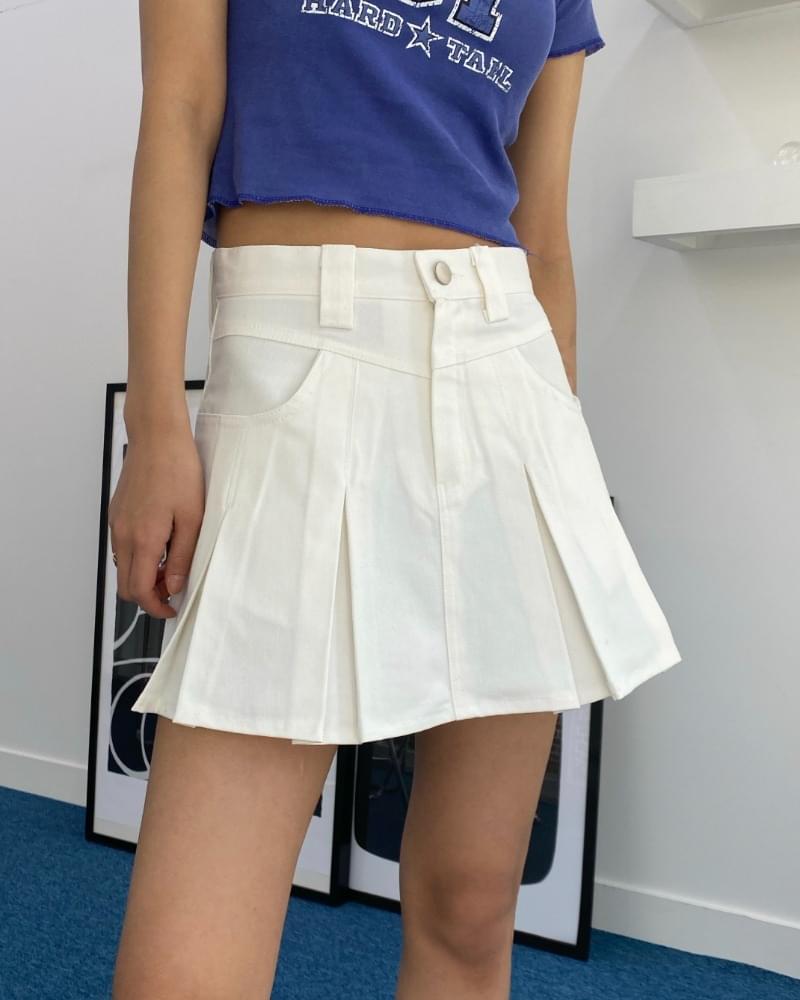 Cotton pintuck pleated mini skirt