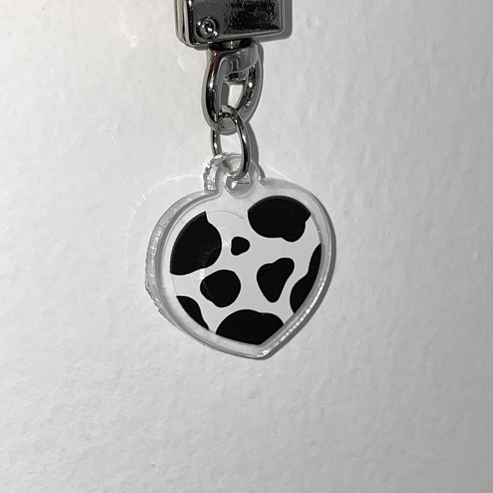 Cow Heart Pattern AirPod Keychain Acrylic Keyring