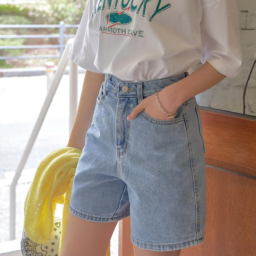 Root high-waisted half-denim trousers 短褲