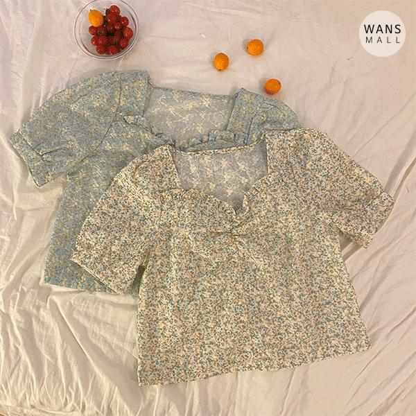 bl4215 Sherry Fine Flower Pattern Short Sleeve Blouse (Delayed delivery)