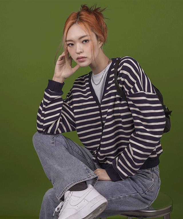 Elmon striped V-Neck cardigan