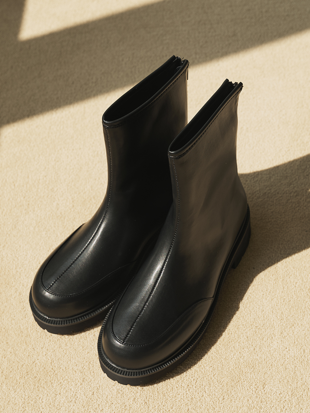 Split round ankle boots