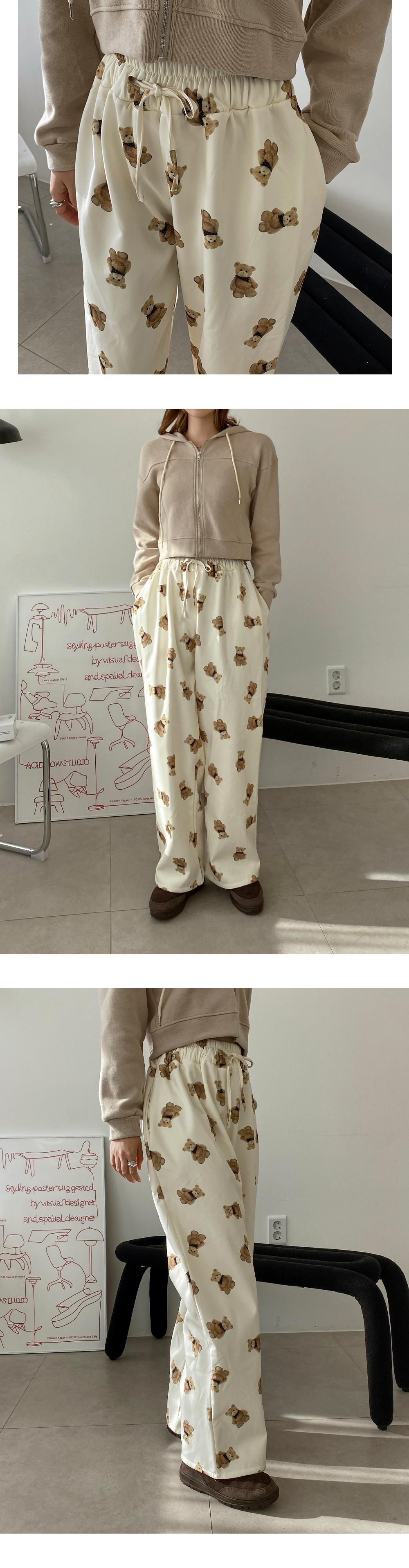 Beard Fleece-lined banding wide pants