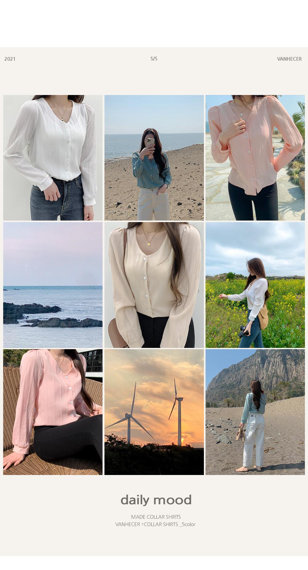 Pastel V-Neck marine blouse T#YW749