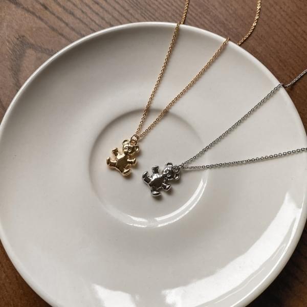 Trendy Teddy Bear Pendant Necklace 2color
