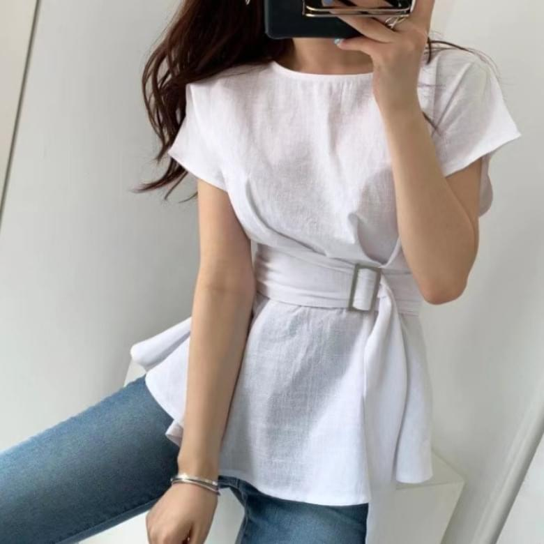 Linen blouse belt set