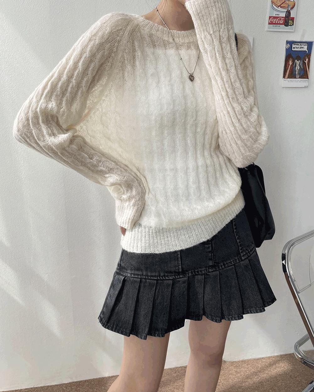 Oceaning See-Through Loose-fit Twisted Knitwear