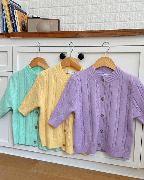 #Any place Coloring Short Sleeve Knitwear Cardigan