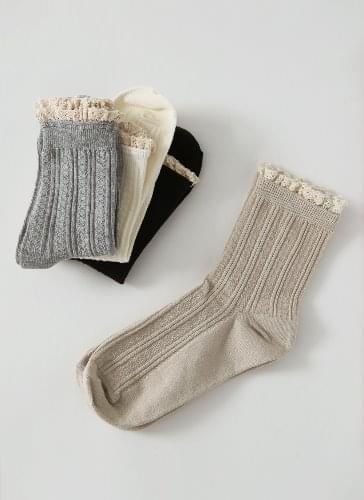 Ribbed ruffle lace socks ACSCM0d708